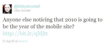 Tweet about 2010 being the year of mobile